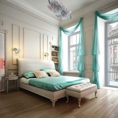 white and green romantic bedroom with leather platform bed and bedroom bench
