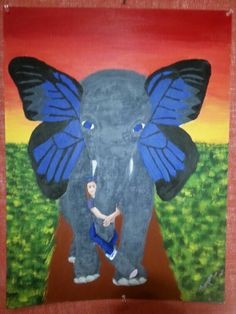 Surreal elephant butterfly thing. :) Done by my student!