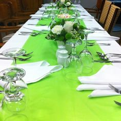 Simple plastic table cloth from dollar store, made this plain table look beautiful. by elisabeth