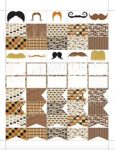 VINTAGE MUSTACHES Half Box Page Flags Erin Condren (Vertical) Planner Stickers - digital - Instant Download by LiveLoveLatte on Etsy