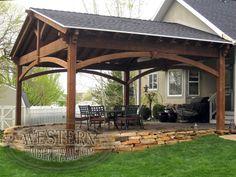 Deck With Pergola, Pergola Patio, Pergola Plans, Pergola Kits, Backyard Patio, Backyard Landscaping, Carport Ideas, Patio Awnings, Screened Gazebo