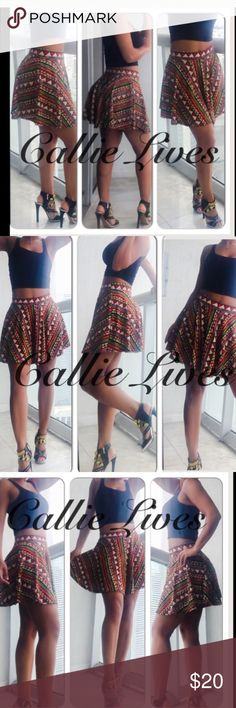 """African Print Skater Skirt ⬇️$25 Red Tribal Ethnic Multi-Colored Ethnic Tribal Banded Skater Mini Skirt 95% Rayon 5% Spandex  Tag Size: Small Approx Meas when Laid Flat (Dbl for Min fit) Waist 11.5""""  Hips 18.5"""" Length from waist to hem: 15.5""""  300+: Crop tops, jogger sets, catsuits, Mommy & Me, soft, fleece, brushed & Velour leggings, Wow Couture, Angelica Val, Giuseppe, Balenciaga, Louis Vuitton, Prada, Moschino, BCBG, Analili, sunglasses, clutches, yoga & workout gear, swimsuits, midi…"""