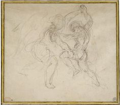 Study for Jacob Wrestling with the Angel, Eugène Delacroix  (1798-1863), Graphite pencil  1850  H. 0.245 m; W. 0.325 m