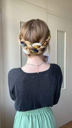 Easy Hairstyles For Long Hair, Little Girl Hairstyles, Scarf Hairstyles, Trendy Hairstyles, Braided Hairstyles, Ribbon Hairstyle, Wedding Hairstyle, Girls Hairdos, Healthy Hair Tips