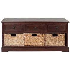 "Crafted of pine wood in a dark cherry finish, this handsome storage bench showcases 3 drawers and 3 wicker storage baskets.     Product: Storage benchConstruction Material: Pine wood and wickerColor: Dark cherry and naturalFeatures:  Three drawersIncludes three wicker baskets Dimensions:  19.7"" H x 42.1"" W x 15.4"" D"
