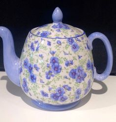 """Shelley Hand painted Pansy chintz 6"""" Teapot"""