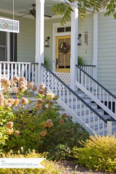 House Colors! I want this on my house. NOW! Body- Prescott Green (Benjamin Moore HC-140) Trim- Simply White (Benjamin Moore OC-117) Skirting and Shutters- Black Forest Green (Benjamin Moore RME-46) Ceiling- Palladian Blue (Benjamin Moore HC-144) Door- ?