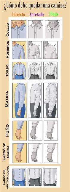 Guía sencilla y rápida de como debe ajustarse la camisa de caballero.