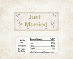 """""""Just Married"""" Free Printable Chocolate Wrappers."""
