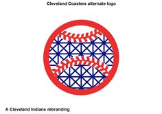 Cleveland Indians rebranded as the Cleveland Coasters.  This is an alternate logo showing the seams on a baseball turned into upper and lower level tracks on a roller coaster.