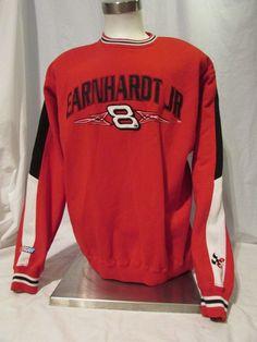 Earnhardt Jr Men's Sweatshirt Size Large Red Long Sleeve #8 Bud Racing Nascar #ChaseAuthentics #BudRacing