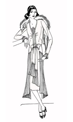 Free coloring page coloring-adult-fashion-1930. 1930's Lady : Simple coloring page for those who like fashion & History