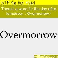 The word for after tomorrow - WTF fun fact