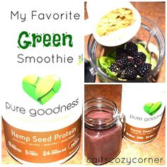 Scrumptious and Nutritious! Check out this Green Smoothie recipe featuring the Pure Goodness Hemp Seed Protein by @caitscozycorner #mypuregoodness #hempseedprotein #superfood #greensmoothie
