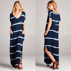 ❗️LAST❗️ Oversized Navy Maxi Dress with Pocket Runs big, size down. Brand new! Tie dye print with pockets. Side slit S M L XL. Trust me when I say to size down!! Dresses Maxi