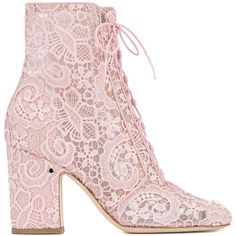 Laurence Dacade Laurence Dacade Milly Lace Boots found on Polyvore featuring shoes, boots, ankle booties, accessories, heels, lace, heeled booties, lace-up booties, lace up booties and mid-heel boots