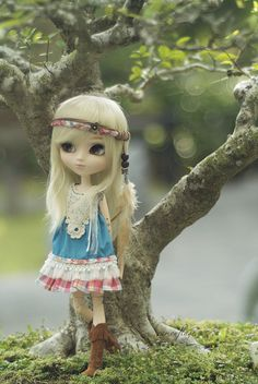 Pullip doll. Love that they posed the doll in front of the little tree.