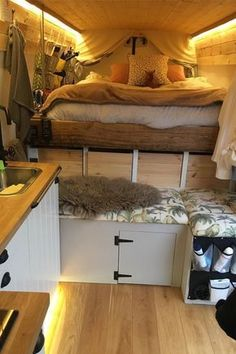 How awesome is this van life interior? Looks so comfy life hacks life aesthetic life budget life interior life vehicles Van Conversion Interior, Van Interior, Kitchen Interior, Interior Design, Interior Ideas, Van Conversion Layout, Van Home, Van Living, Living Room