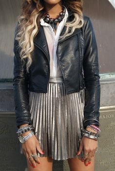 leather jacket; pleated skirt