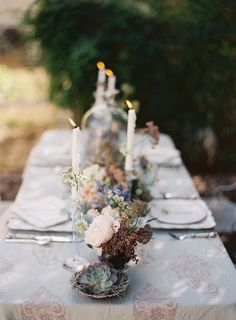 incorporate candles within the natural setting on wedding reception table table settings, decor, table arrangements, beach weddings, tabl arrang, spring tabl, reception tables, floral tablescap, elegant beach wedding ideas