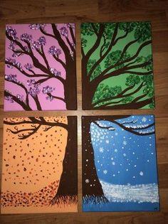 Kids Crafts, Winter Crafts For Kids, Art For Kids, Autumn Art Ideas For Kids, Spring Art Projects, Spring Crafts, Projects For Kids, Class Projects, Four Seasons Art