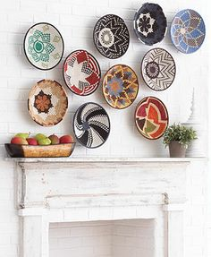 wall decoration with african baskets African Interior, African Home Decor, Ethno Design, Baskets On Wall, Woven Baskets, Wall Basket, 3d Wall Art, Modern Wall Decor, Basket Decoration