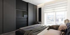 6 Perfectly Minimalistic Black And White Interiors Black Bedroom Design, Wardrobe Design Bedroom, Bedroom Decor, Modern Office Design, Modern Interior Design, Townhouse Interior, Interior Office, E Room, Black And White Interior