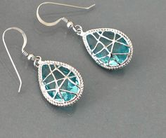 $29 Aqua blue earrings, Silver framed glass crystal drop dangle, sterling silver ear wire jewelry, by balance9