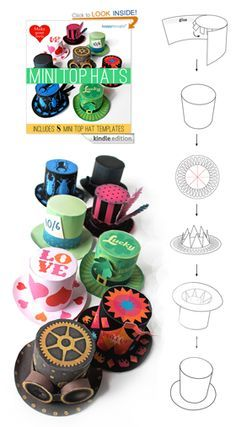 Happythought's Amazon best seller on the kindle 'Make your own Mini top Hats' #tophats #minitophats #papercraft #nosew