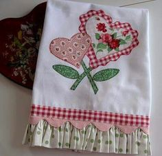 Sweet Hearts was my second pattern ever. Dish Towels, Hand Towels, Tea Towels, Fabric Crafts, Sewing Crafts, Sewing Projects, Patch Quilt, Applique Patterns, Sewing Patterns