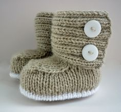 oh these are cute too @Eleanor Smith Smith Smith wells - knitting pattern for baby booties knitted in the flat