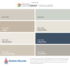 I found these colors with ColorSnap® Visualizer for iPhone by Sherwin-Williams: Agreeable Gray (SW 7029), Loggia (SW 7506), Marshmallow (SW 7001), Accessible Beige (SW 7036), Sea Salt (SW 6204), Pearly White (SW 7009), Indigo Batik (SW 7602), Pussywillow (SW 7643).