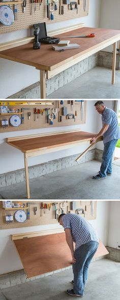 Build a Drop Down Workbench |-No shop is complete without a workbench, but not everyone's shop space allows room for a big, freestanding bench. This bench offers a sturdy place for all your shop chores, and folds down flat against the wall when not in use to save space. FREE PLANS at buildsomething.com #woodworking…