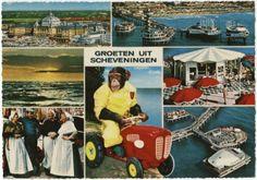 Groeten uit Scheveningen met 7 kleine beelden, o.a. Kurhaus, Pier, zee en haven. ca 1970 Kruger / Sleding, Amsterdam, nr. 967049 #ZuidHolland #Scheveningen