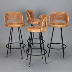 Set of 4 Mid Century Rattan Swivel Bar Stools in Style of Danny Ho Fong