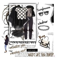 """""""Black&White"""" by moorerkaura ❤ liked on Polyvore featuring beauty, Chaco, One Teaspoon, Relaxfeel, Lipsy, Kate Spade and Prada"""