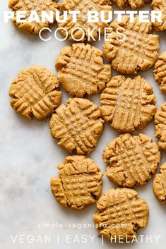 Vegan Peanut Butter Cookies - Easy to make and easier to eat, thick, soft and chewy homemade peanut butter cookies made in 1 bowl with peanut butter, flour, sugar, vanilla and almond milk are the best!