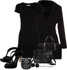 """Work wear in all black"" by amabiledesigns on Polyvore"