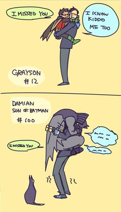 DC Dick Grayson and Damian Wayne. Damian in Bat Suit? Nightwing, Batgirl, Tim Drake, Damian Wayne, Son Of Batman, Batman Robin, Gotham Batman, Batman Art, Jason Todd