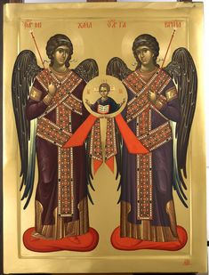 The Lord with Holy Archangels Michael and Gabriel Byzantine Icons, Byzantine Art, Religious Icons, Religious Art, Best Icons, Angels Among Us, Archangel Michael, Day Book, Art Icon