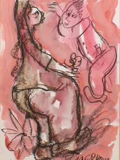 Frans Claerhout (SA 1919 - 2006) Mixed Media, Courting Coupl