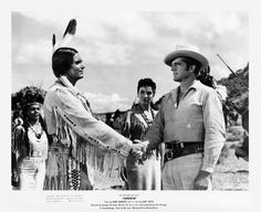 COMANCHE (1956) - Dana Andrews (pictured) - Linda Cristal (pictured) - Kent Smith (pictured) - Henry Brandon - Stacy Harris - Directed by George Sherman - United Artists - Publicity Still.