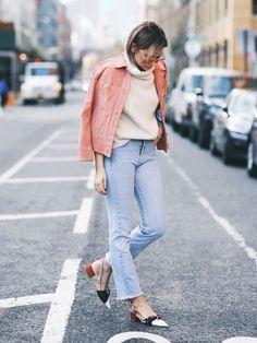 Pastel Jacket + Cream Sweater + Cropped Flares + Slingback heels