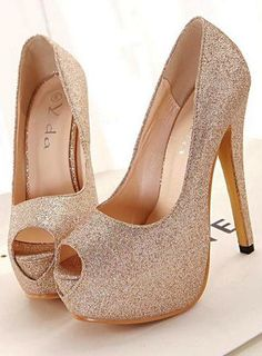 Gold sparkly high heel pumps