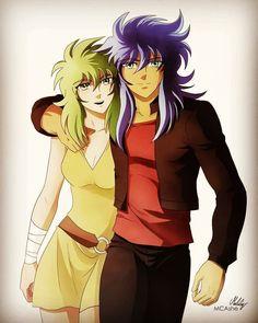 Saint Seiya - Ophiuchus Shaina and Scorpio Milo - By MCAshe. Old Anime, Manga Anime, Soul Saga, Anime Stars, Fantasy Battle, Canvas, Sailor Moon, Knight, Saints