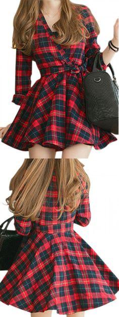 Color Block Plaid Print Wrap Front Belted Shirt Dress