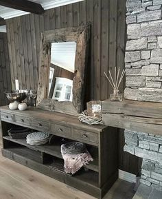 Ideas Design Art Wood Products For 2019 Chalet Interior, Interior Exterior, My Living Room, Home And Living, Montana Homes, Cabin Interiors, Cabin Homes, Home Staging, Cozy House