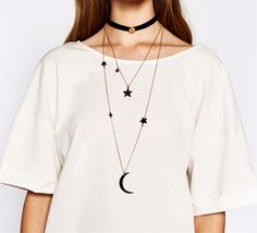 New fashion trendy jewelry multi layer moon star necklace gift for women girl Black Chain Necklace, Star And Moon Necklace, Layered Necklace, Punk Fashion, Trendy Fashion, Fashion Brand, Bohemian Style Clothing, Buy Jewellery Online, Star Pendant