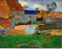 "artist-gauguin: "" A blue roof (Farm in Pouldu), Paul Gauguin Size: cm Medium: oil on canvas"" Paul Gauguin, Henri Matisse, Gravure Photo, Oil On Canvas, Canvas Art, Blue Roof, Impressionist Artists, Oil Painting Reproductions, Art Moderne"