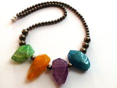 Beaded Necklace Faceted Colored Agate by OlgaJewelryBoutique
